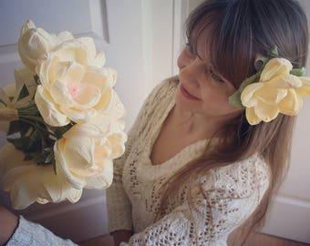 Magnolia Paper WEDDING BOUQUET, MAGNOLIAS flowers, buttonhole possible, hairflowers possible
