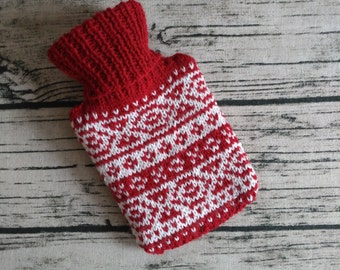 Mini Fair Isle Hot Water Bottle and Cover - Knitted Handmade