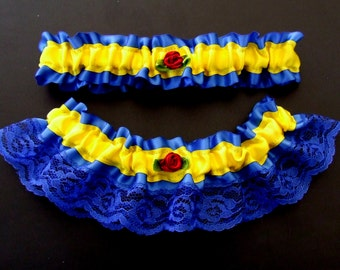 Beauty and the Beast Garter Set in Blue & Yellow with Red Satin Roses / Fairy Tale Fairytale Princess Royal Burgundy Cosplay Wedding Prom