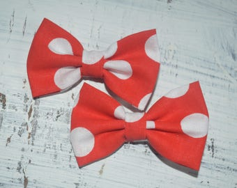 Red and White Polka Dot Minnie Pigtail Bow Set