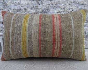 "Pale Color Kilim Pillow Turkey Kilim Pillow 12"" x 20""Vintage Turkish Pillow Kilim Lumbar Pillow Home Decor Pillow Bedding Pillow Boho Pillow"
