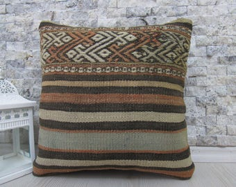 turkey kilim pillow cover 14x14 kilim cushion natural wool embroidered boho pillow aztec pillow turkish pillow 14x14 kilim pillow