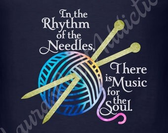 2 In the Rhythm of the Needles, There is Music for the Soul, svg dxf cut files for Silhouette Cricut, Knitting svg, Knitting shirt, Knitting