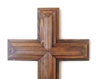 "Large Wall Cross, 36"", Rustic Wood Cross, Christian Decor, Church, Sanctuary Cross, Large Wall Cross, Wood Wall Cross, Christian Cross"