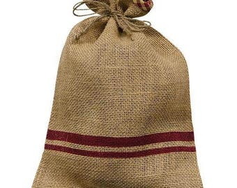 """Set of 6 Gifting Bags, Burlap Bags, 12""""x 8"""" with Red Stripe"""