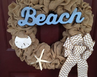 Beach Burlap Wreath, Burlap Wreath, Burlap Wreath with Sand Dollar and Starfish