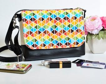 Rainbow cross-body bag, Black vegan leather purse, Messenger bag, Camera bag, Colorful fabric shoulder bag, Rainbow diamond print cotton bag