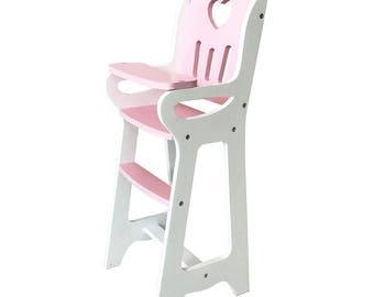 Wooden Doll Highchair (Chair Handmade) - Pink