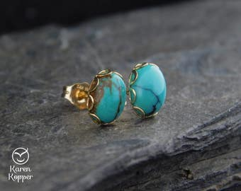 Natural turquoise gemstone earrings, 8x6 mm cabochon, 14k gold filled filigree setting, posts earrings, studs, December birthstone, 185