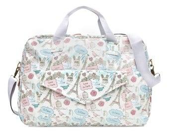 Oilcloth Diaper baby Bag - Paris Large Mothers Bag Nappy bag Ladies Travel Weekend bag Waterproof Duffel bag Carry on bag - Ladies large bag