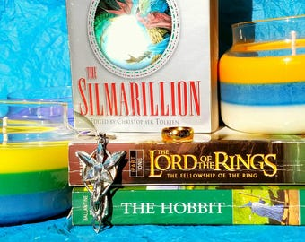 Tolkien Inspired Candle Set- Silmarillion and Rivendell Layered Soy Candles (Free U.S. Shipping!)