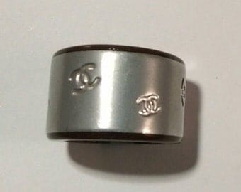 CHANEL cuff ring chocolate brown and silver with CC logos