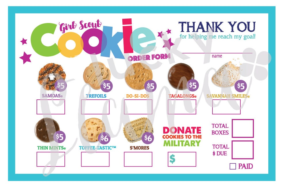 2018 girl scout cookie order form military option printable