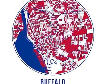 Buffalo Football - Community Color Map - Poster Print Wall Art- Neighborhood Fan