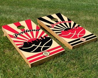 Portland Basketball Cornhole Board Set with Bean Bags