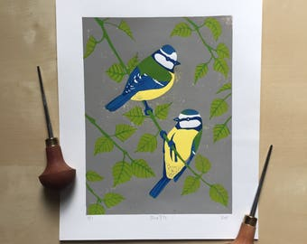 Blue Tit bird linocut print - handmade, limited edition