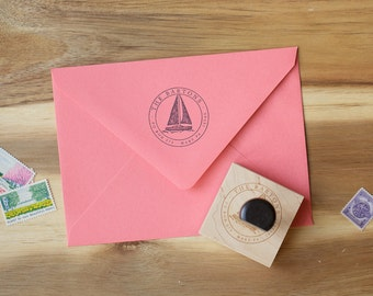 Return Address Stamp - Custom Rubber Stamp - Christmas Gifts - Gift for Her - Housewarming Gift - Round Circle - Sailboat - Boating Gift