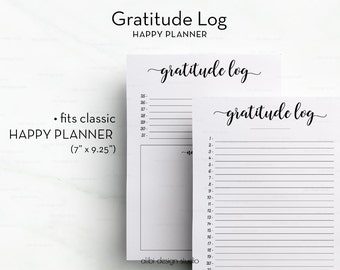 Gratitude Planner, Gratitude Log, Gratitude Printable, Happy Planner Inserts, Daily Gratitude, Daily Organizer, MAMBI Inserts, Happy Planner