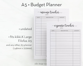 Budget Planner, Expense Tracker, Income Tracker, A5 Planner Inserts, Financial Planner, A5 Budget Printable, Printable Planner, Filofax A5