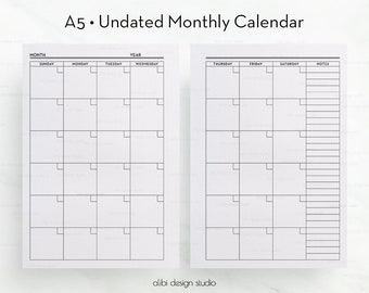 Undated Monthly Calendar, Monthly Planner, A5 Planner Inserts, Monthly Organizer, A5 Inserts, Monthly Planner, kikki.K Large, Filofax A5