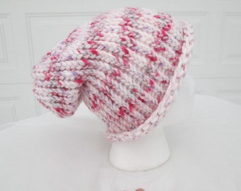 White with pink and purple striped slouch hat, winter hat, loom knitted, head cover, tween and teen,