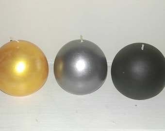 Customizable 3 Ball Candle Set. Black. Silver. Gold. You choose your colors.