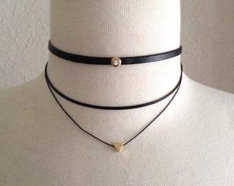 Choker Necklace,Black Choker Necklace,Tiny Triangle Choker,Tiny Charm Choker,Multiple Layered Choker Necklace,Tiny Triangle Gold Choker