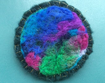 Abstract needle felted brooch