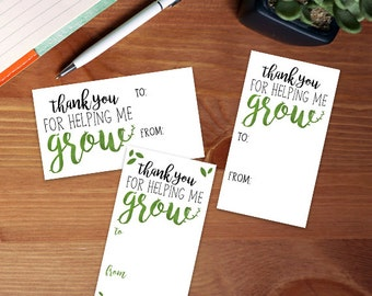 Digital Printable Gift Tags - Set of 3 Designs - Thank You For Helping Me Grow Leaf Plants Nature Pun School Teacher Gifts Plant Puns Thanks
