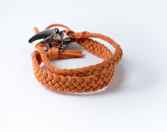 SALE | Braided Suede Leather Pacifier Clip | Burnt Orange