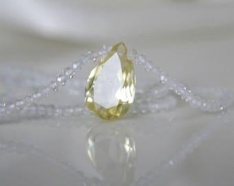 Gemstone Topaz necklace with Lemonquarz pendant drop cut faceted