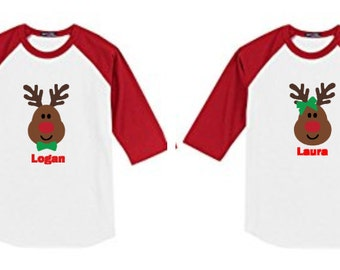Personalized Christmas TShirt Kids Personalized Reindeer TShirt Reindeer Shirt Christmas Shirt Kids Personalized Christmas Shirt