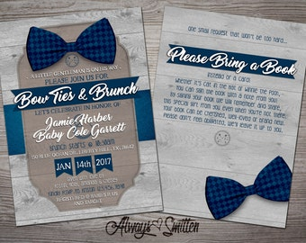 BABY SHOWER INVITATIONS   - Bow Tie & Brunch ! A Gentleman is on his way- Printable or Printed Invitations.