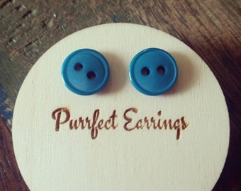 Cute turquoise button earrings