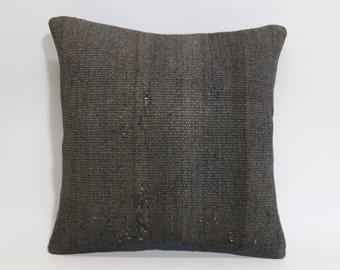 Decorative Kilim Pillow 18x18 Turkish Kilim Pillow Grey Overdyed Pillow Cover Bohemian Kilim Pillow 18x18 - 45x45 cm SP4545-959