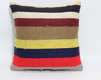Bedroom Decor Kilim Pillow Bed Pillow Ethnic Pillow 16x16 Multicolor Striped Turkish Cushion CoverSP4040-1663