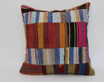 Handwoven Kilim Pillow Throw Pillow 24x24 Floor Pillow Patchwork Kilim Pillow Ethnic Pillow Home Decor Cushion Cover SP6060-697