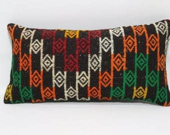 12x24 Decorative Kilim Pillow Home Decor Cushion Cover 12x24  Handwoven Kilim Pillow Sofa Pillow Ethnic Pillow Fllor Pillow  SP3060-744