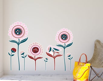 Quirky Flowers Wall Decal