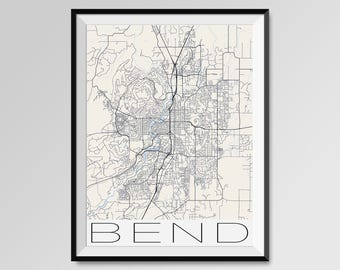 BEND Oregon Map, Bend City Map Print, Bend Map Poster, Bend Wall Art, Bend gift, Custom city, Personalized Oregon map