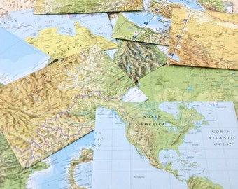 Map Envelopes, Snail Mail Stationery, Paper Envelopes, World Map Envelope, Atlas Envelope, Travel Keepsake Pocket, Card Postcard Invitation