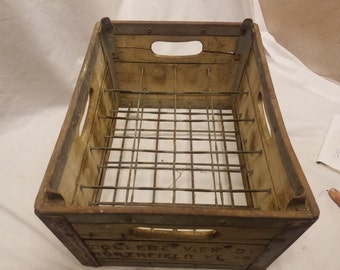 College view dairy 20 pint bottle holder wood box for Norwich university