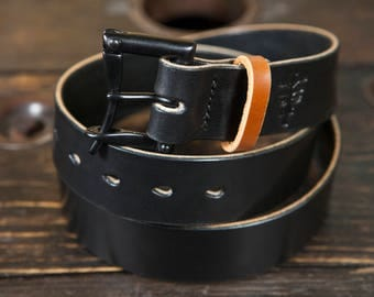 "Limited Edition 1.5"" Black Quick Release Belt with Contrasting Brown Bridle Keeper- Hand stitched with Black thread"