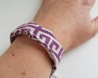 Bracelet - Wrap Scrap - Lenny Lamb Feathers - Recycled - Braided Bracelet - Cuff Bracelet - Babywearing - Teal - Purple