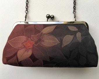 Burgundy clutch bag/purse handmade from vintage kimono silk.