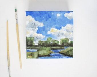 Original Landscape Painting | Mini Canvas Art | Cloud Painting | Seascape Painting | Cloud Art | Mini Canvas Art | Seascape Oil Painting