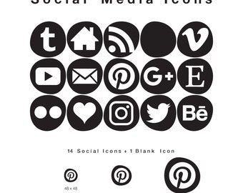 15 Web & Blog Social Media Icons - Smooth Bleb-like Shape in Black PNG files