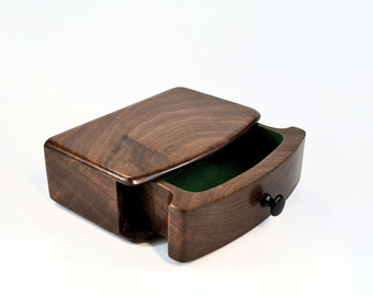 Curved-front walnut box
