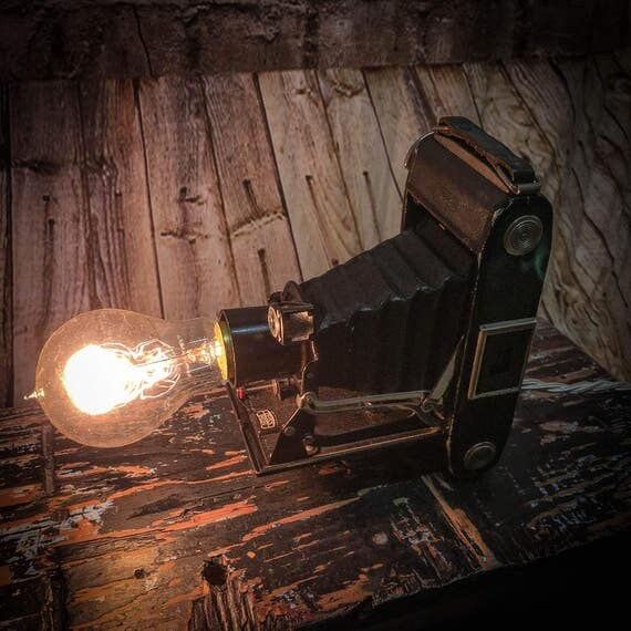 Vintage Folding camera table lamp
