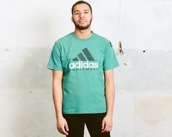 Adidas Logo T-Shirt. Vintage Adidas Equipment Mens Green T-shirt 90s Sports Top Retro 90s Tee Shirt Sportswear Streetwear . size Medium